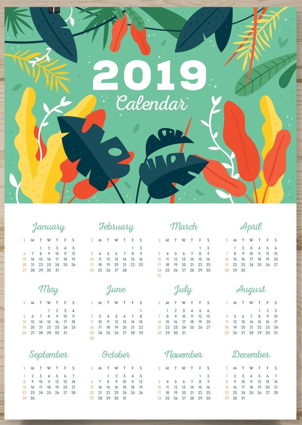 Printable 2019 One Page Calendar (Com Imagens) | Calendário