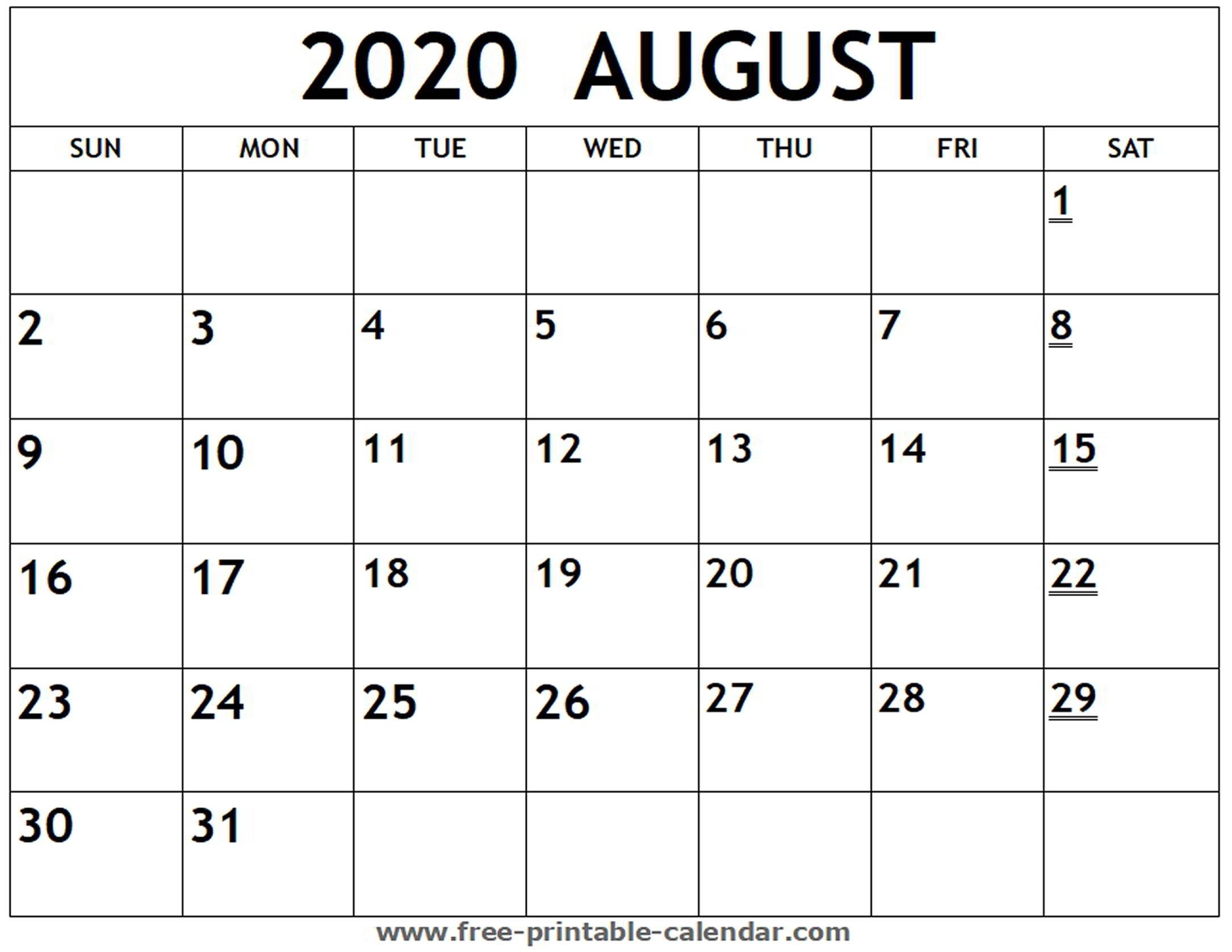 Printable 2020 August Calendar - Free-Printable-Calendar