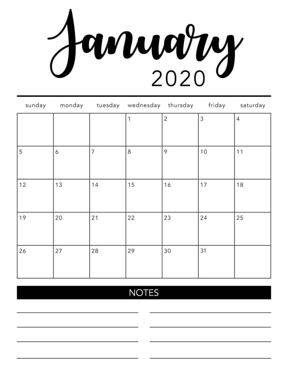 Printable 2020 Calendar By Month | Monthly Calendar