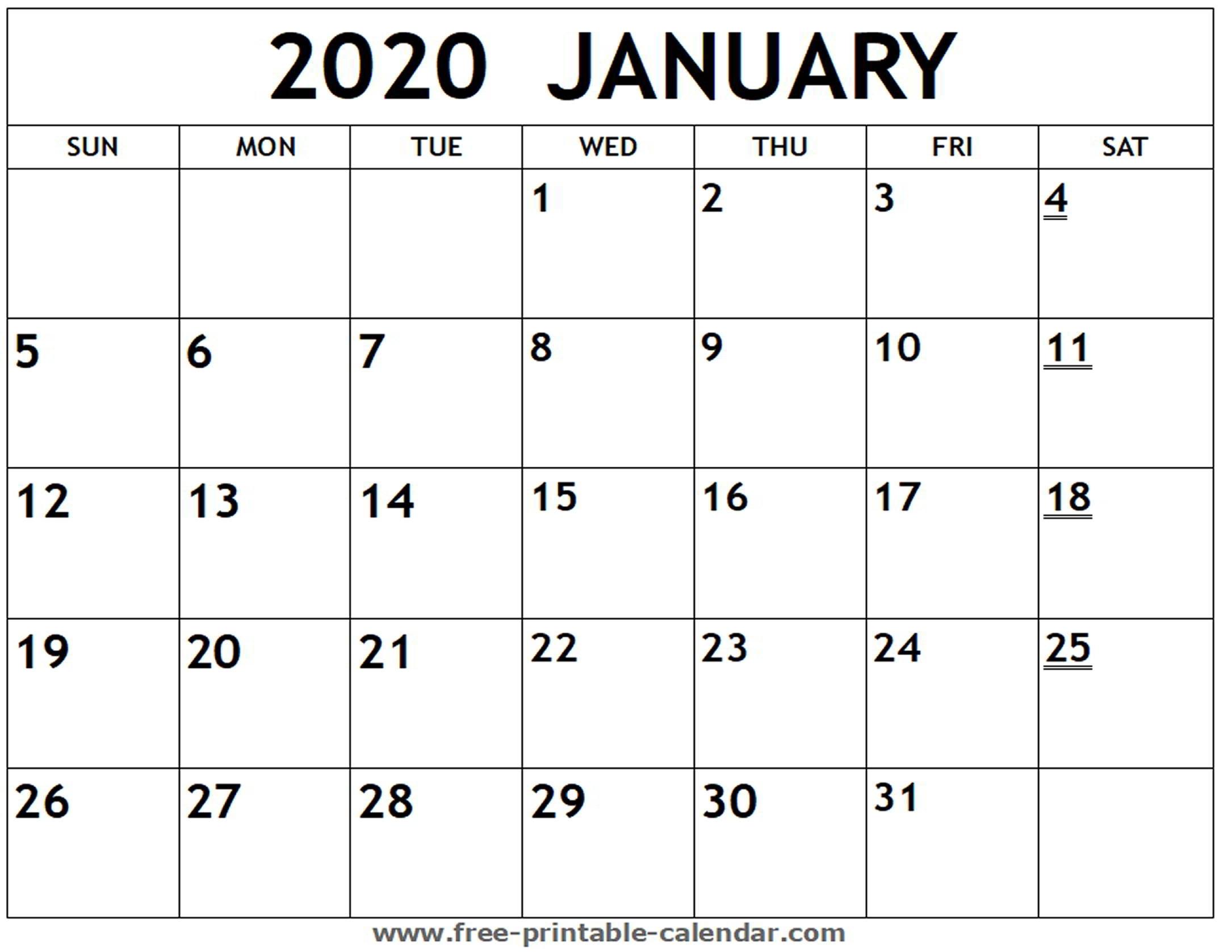 Printable 2020 January Calendar - Free-Printable-Calendar