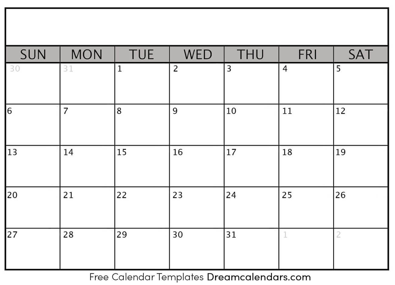 Printable Blank Calendar 2020 | Dream Calendars