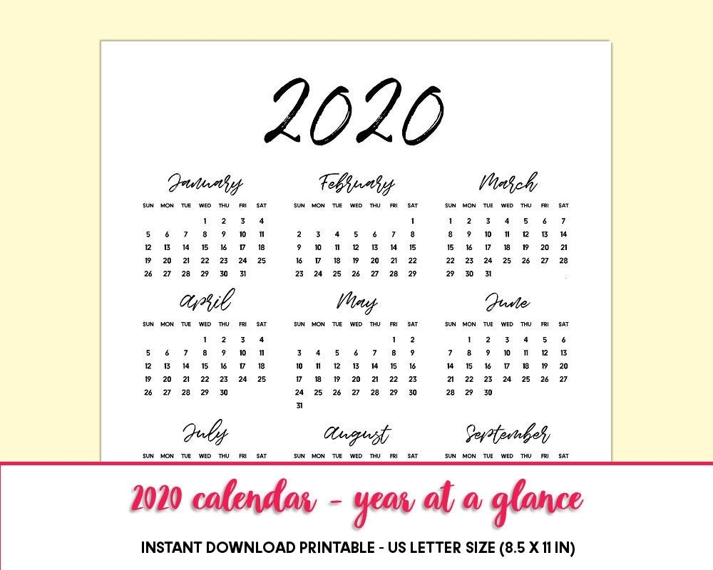 Printable Calendar 2020 Year At A Glance, One Page Calendar, Yearly  Calendar 2020 Planner Inserts