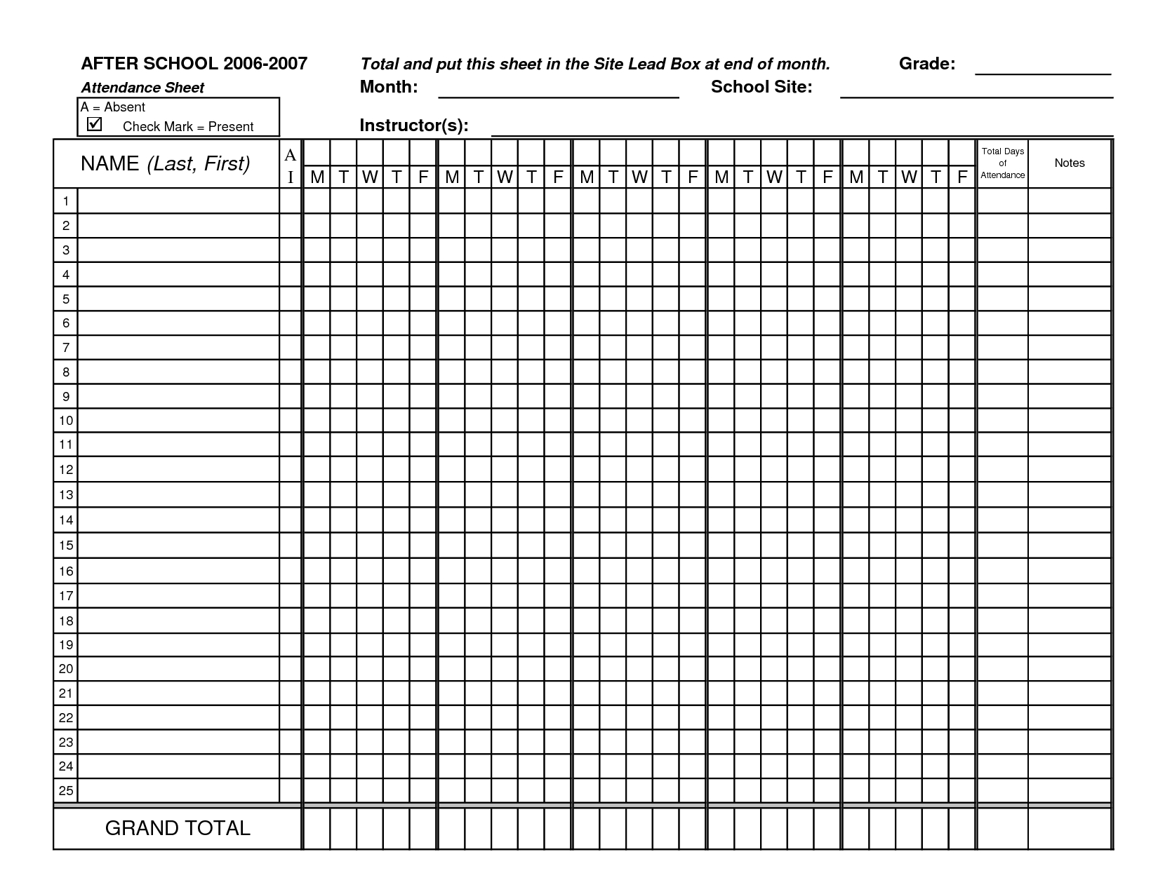 Printable Daily Employee Attendance Sheet In Excel Template