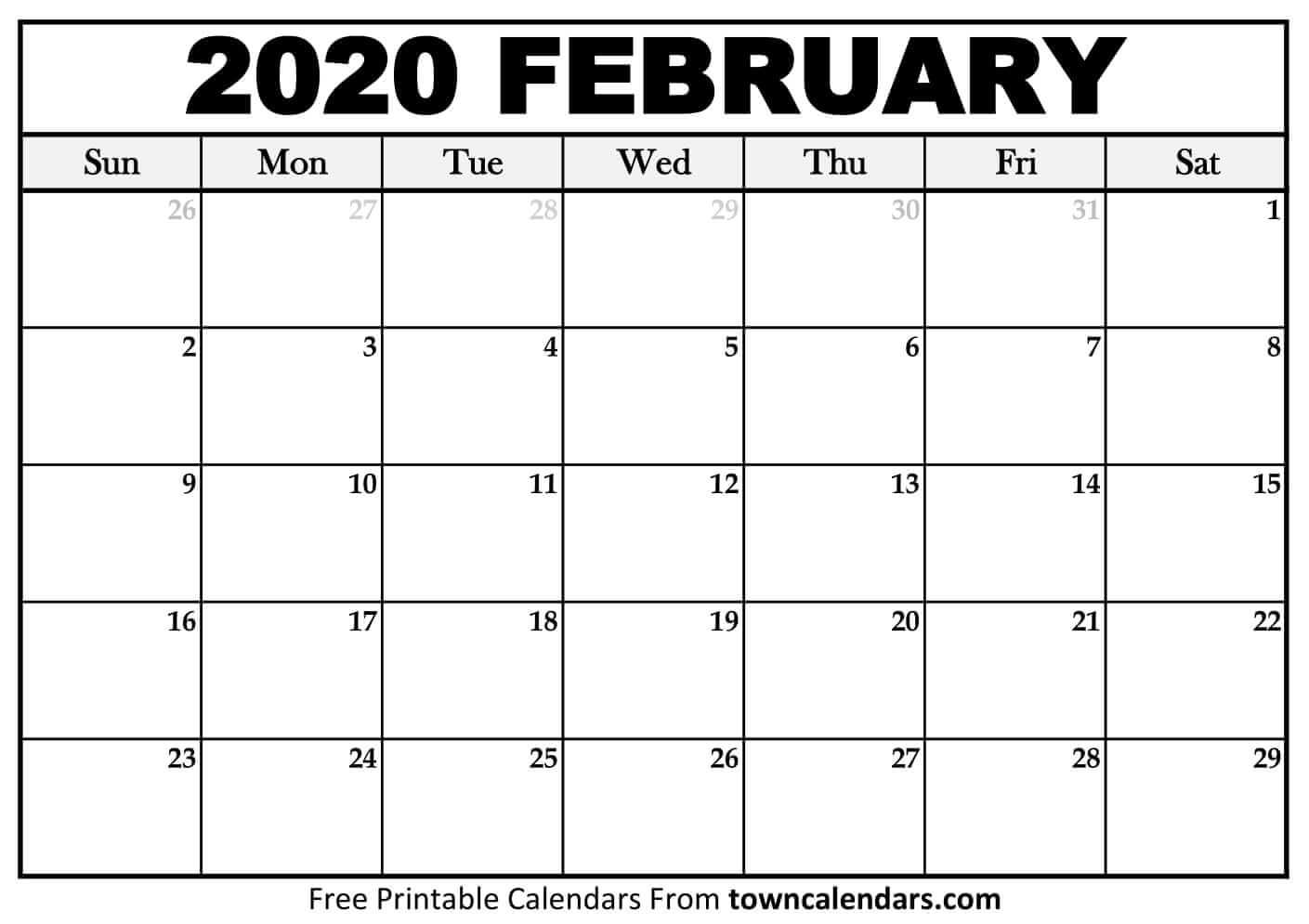 Printable February 2020 Calendar - Towncalendars