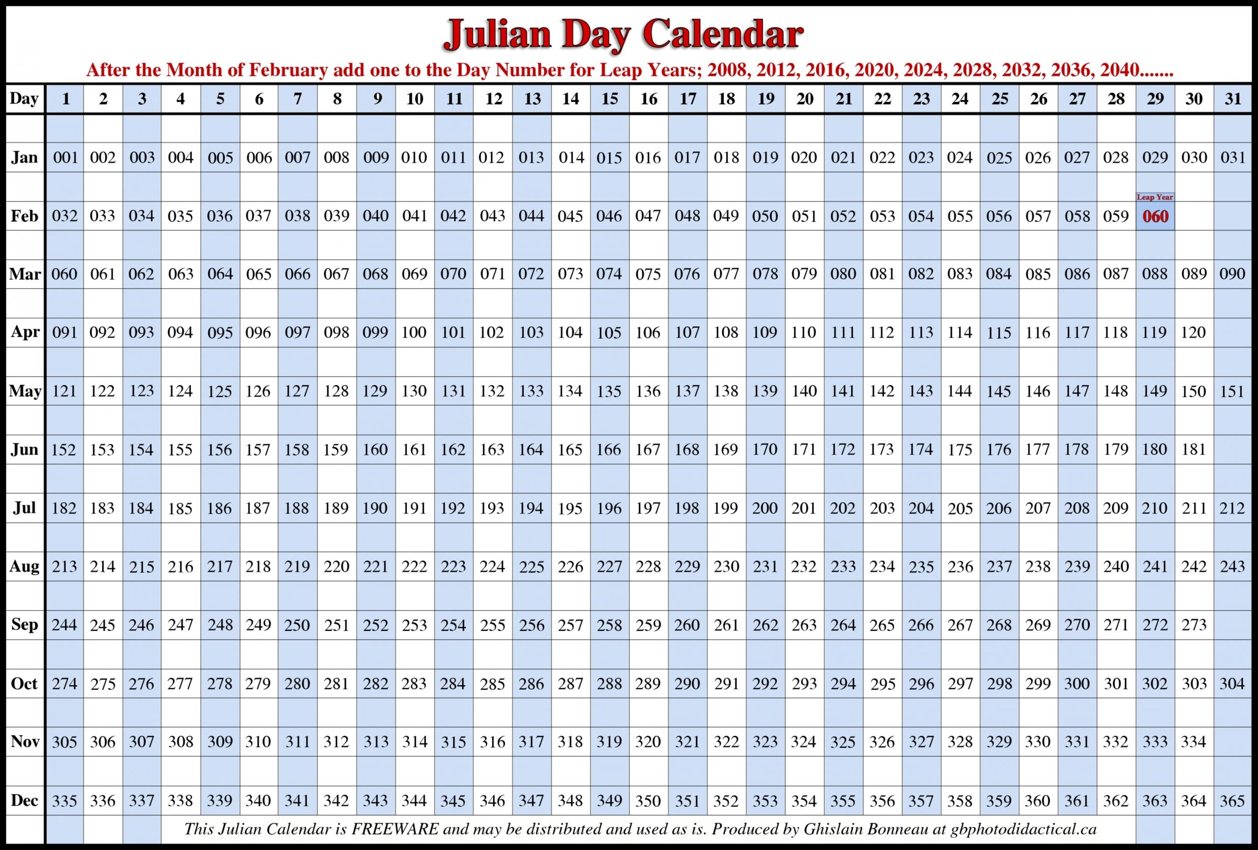 Printable Julian Calendar 2020 Di 2020