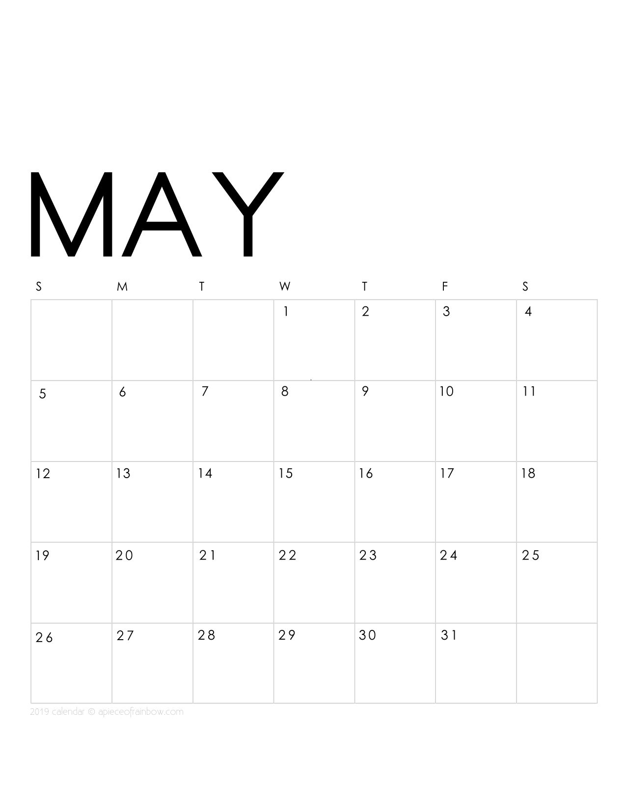 Printable May 2019 Calendar Monthly Planner {2 Designs