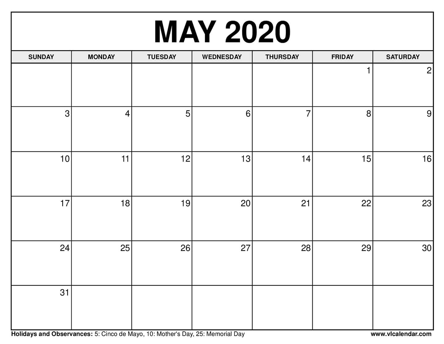 Printable May 2020 Calendars | Syndication Cloud