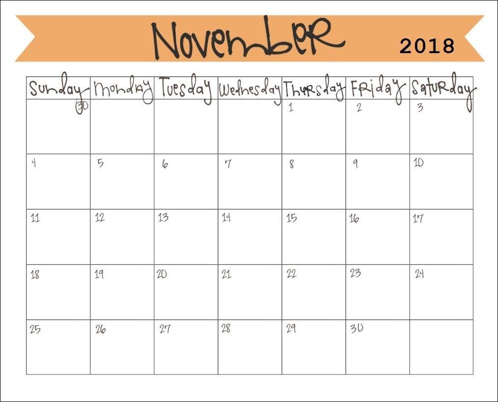 Printable November 2018 Calendar (With Images) | November