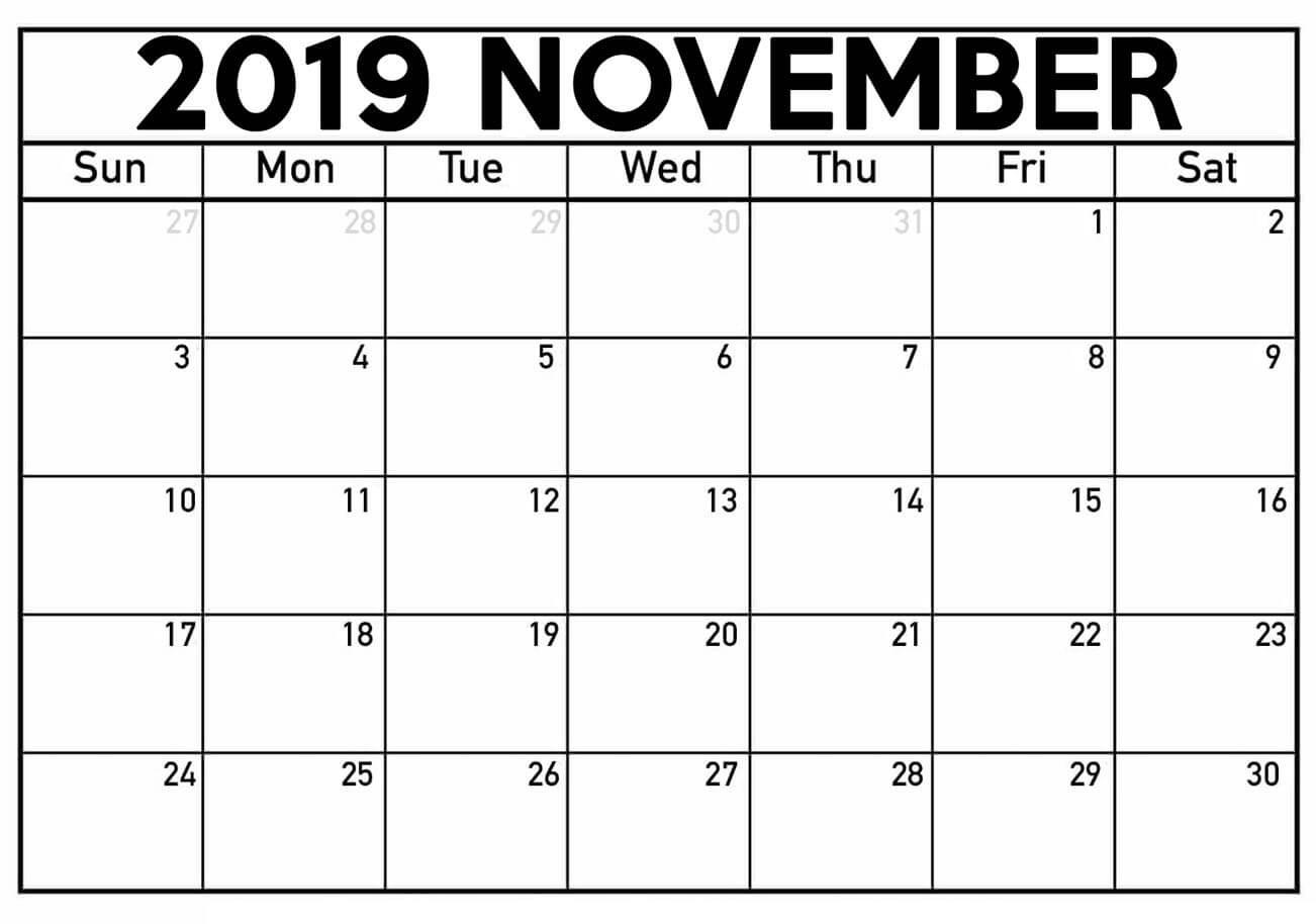 Printable November 2019 Calendar Template | Free Printable