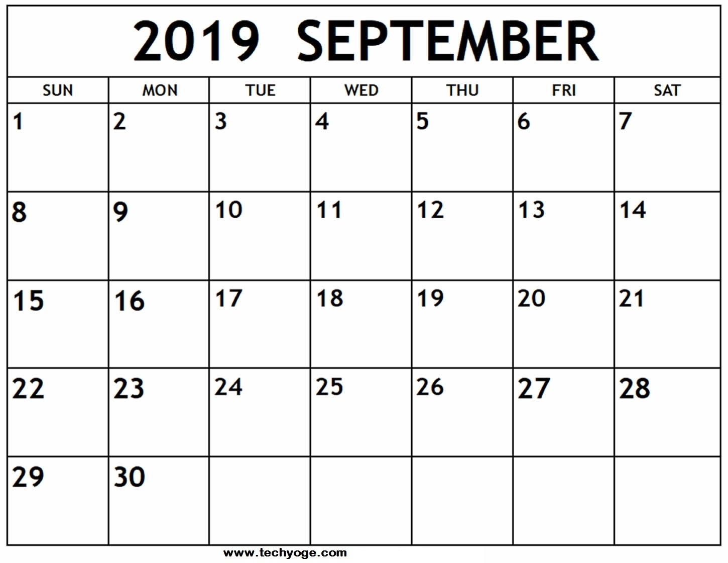 Printable September 2019 Calendar With Holidays Template
