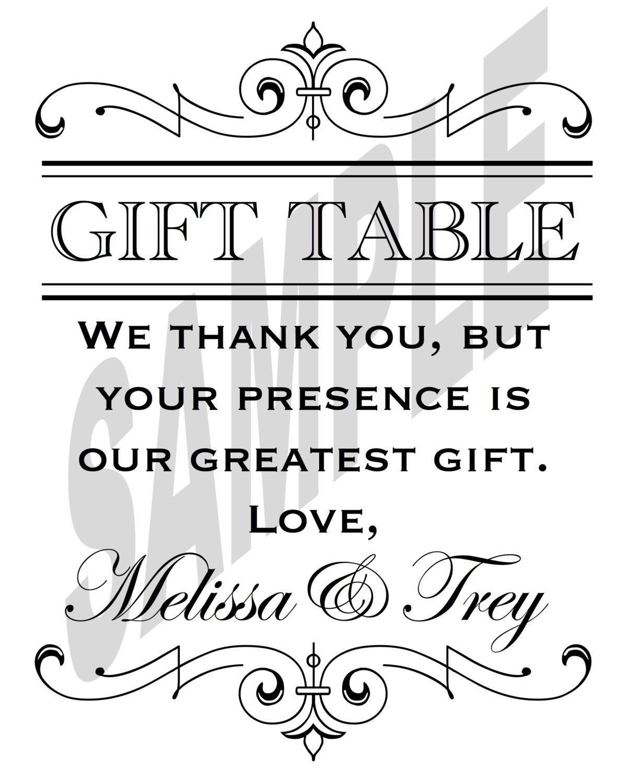 Printable Wedding Reception Gift Table Sign | Gift Table