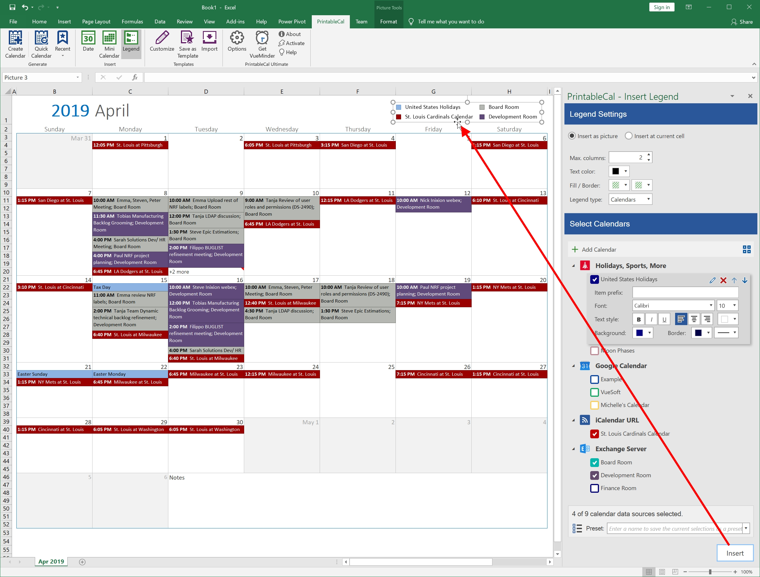 Printablecal Insert Color Coded Legend Create Calendar From