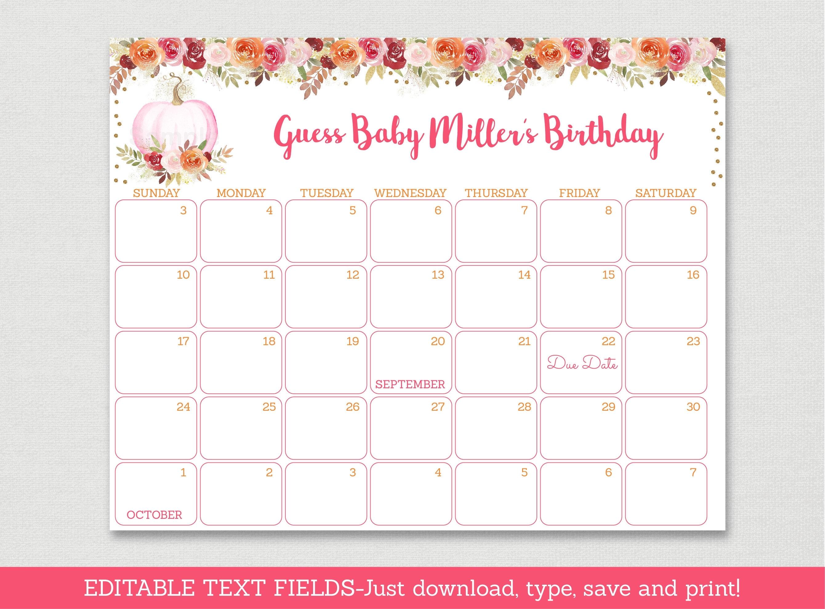 Pumpkin Floral Baby Due Date Calendar / Pumpkin Baby Shower / Fall Baby  Shower / Glitter Pumpkin / Birthday Predictions / Editable Pdf A466