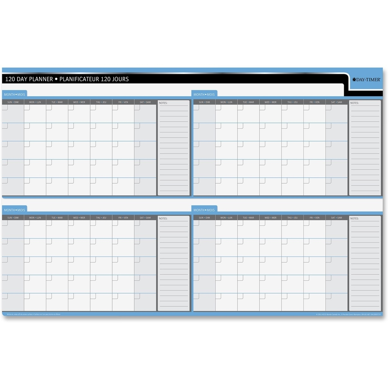 "Quartet Double Sided Undated Planner - 24"" X 36"" - Bilingual, Laminated"