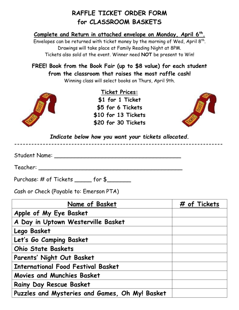 Raffle Ticket Order Form For Classroom Baskets