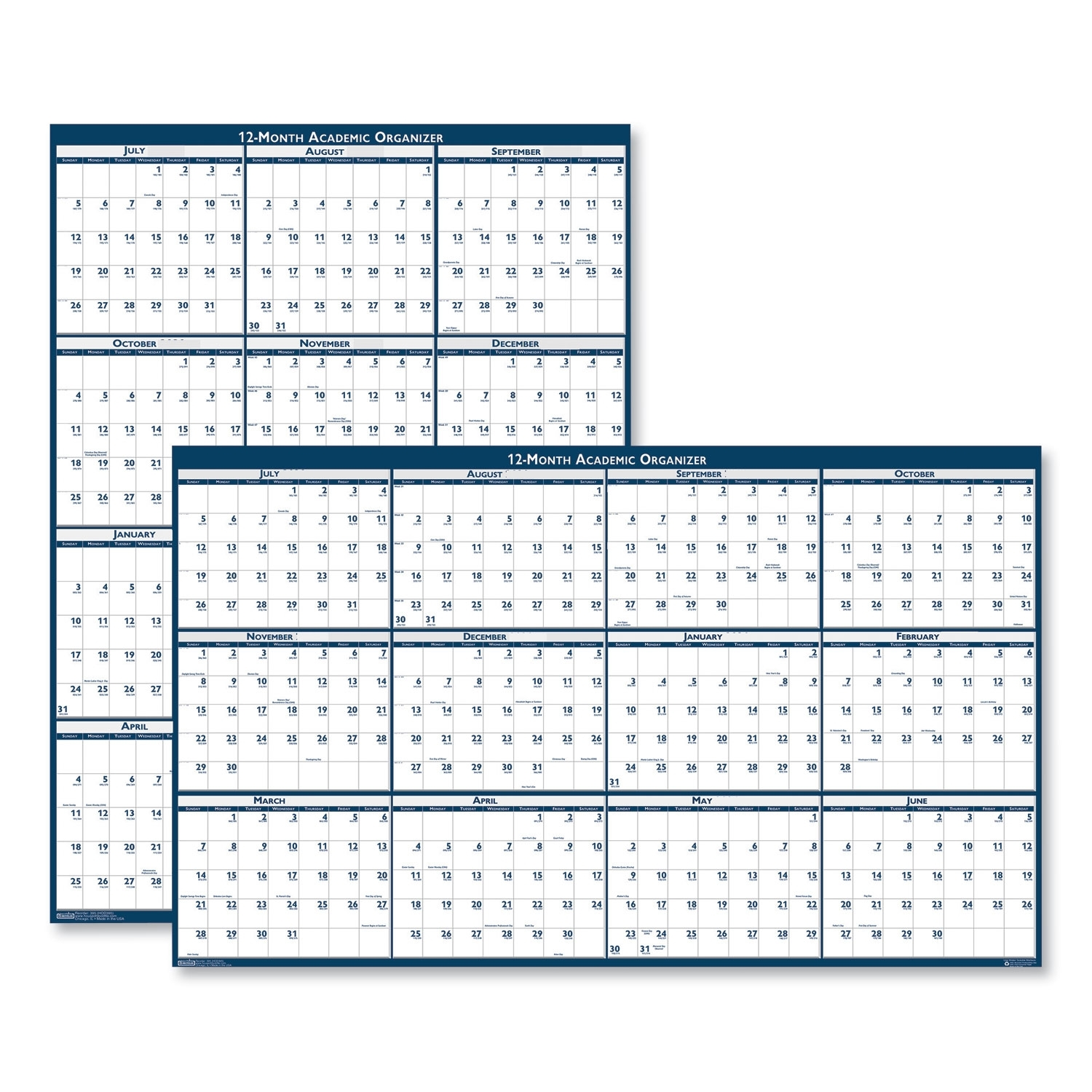 Recycled Poster Style Reversible Academic Yearly Calendar