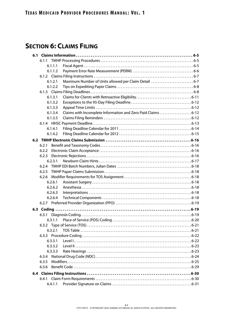 Section 6, Claims Filing