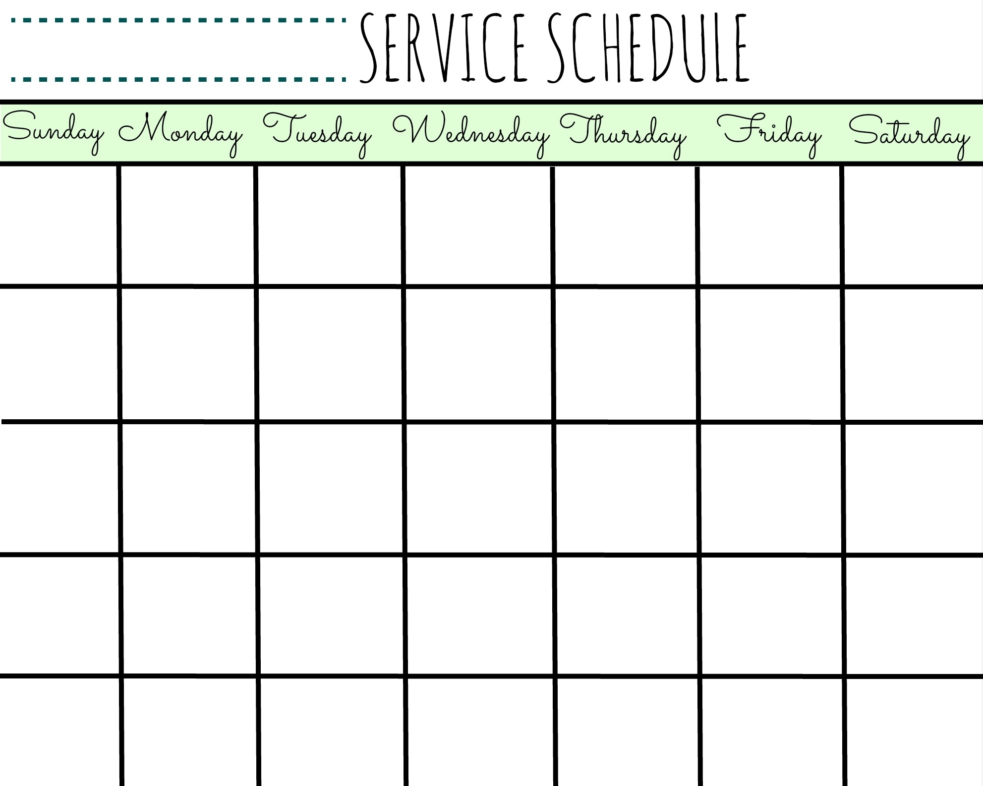 Service Schedule Calendar Printable - First Home Love Life