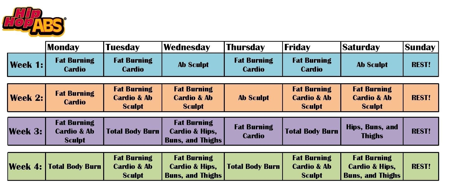 Shaun T Hip Hop Abs Schedule - Calendar Inspiration Design