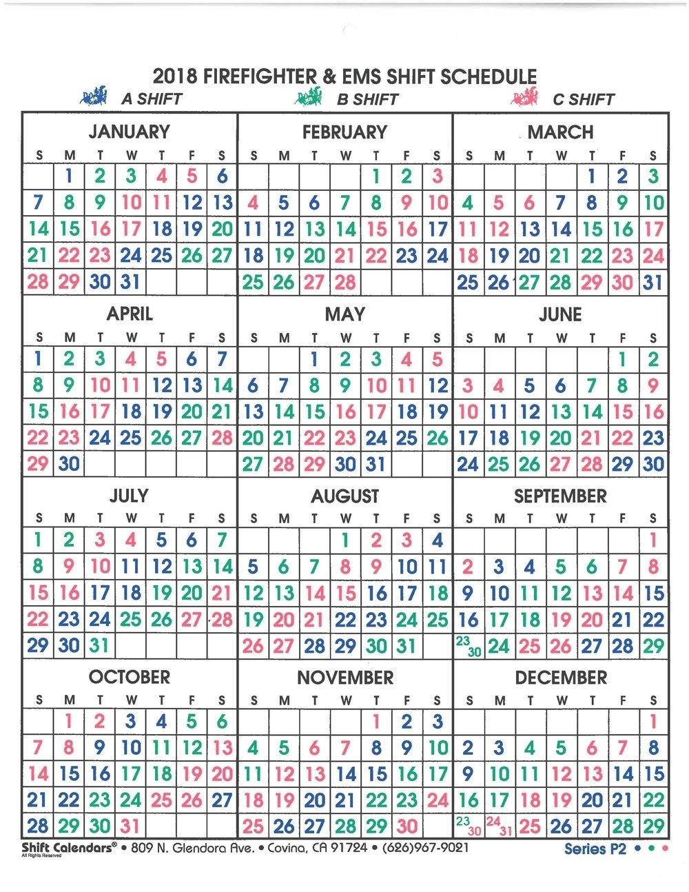 Shift Calendar — Sun City Fire And Medical Department