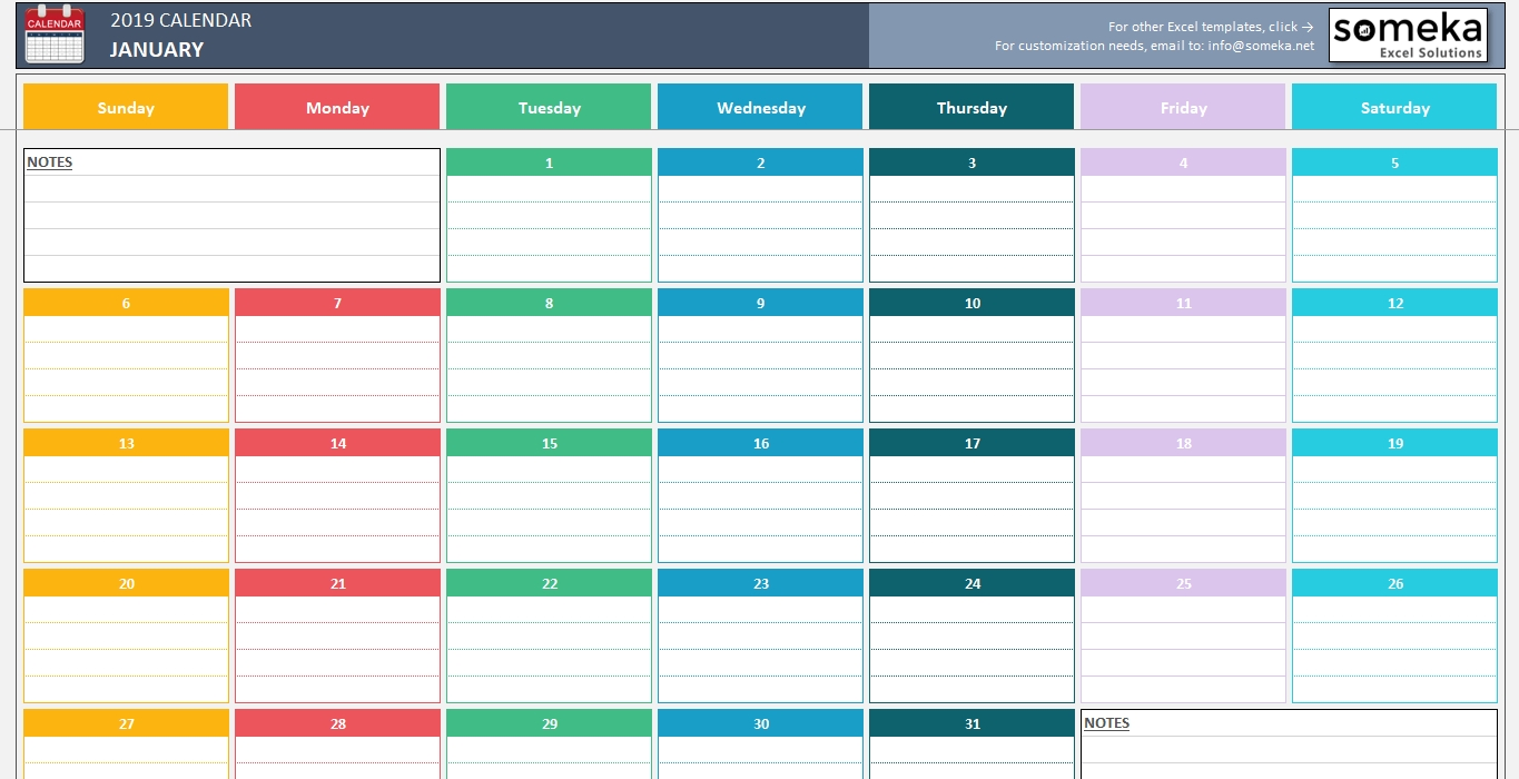 Simple Calendar Excel Template Spreadsheet Dar Monthly
