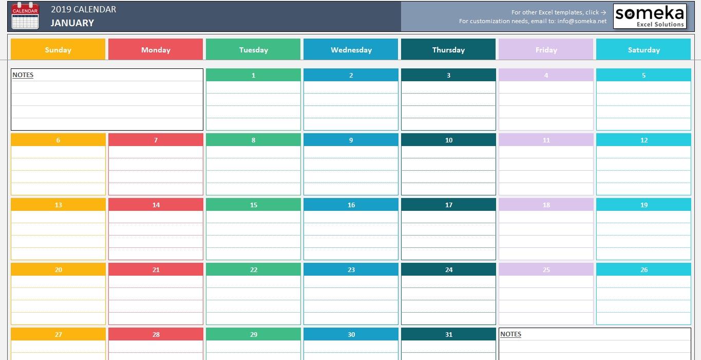 Simple Calendar Excel Template Spreadsheet Dar Monthly