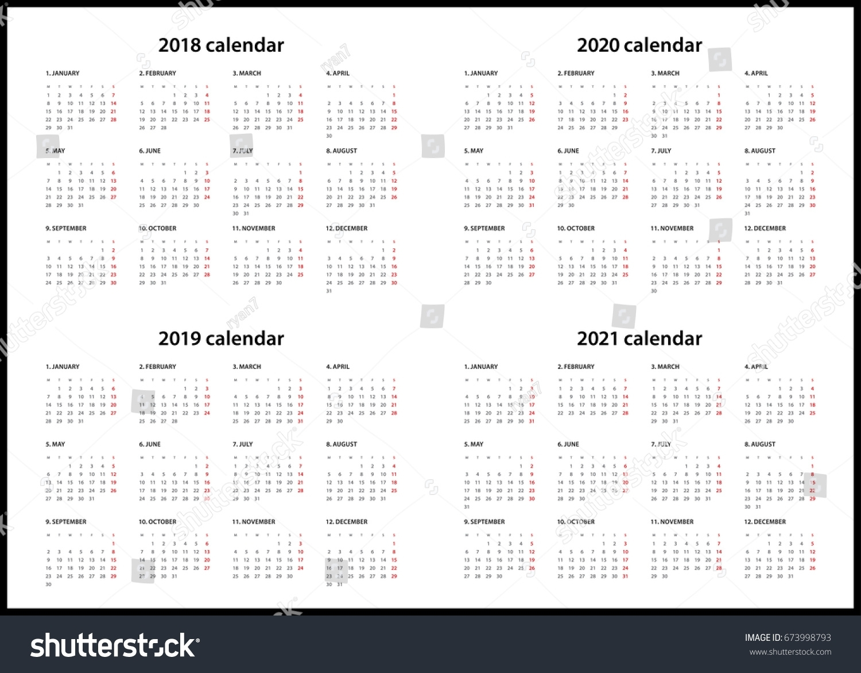 Simple Calendar For 2018, 2019, 2020… Stock Photo 673998793