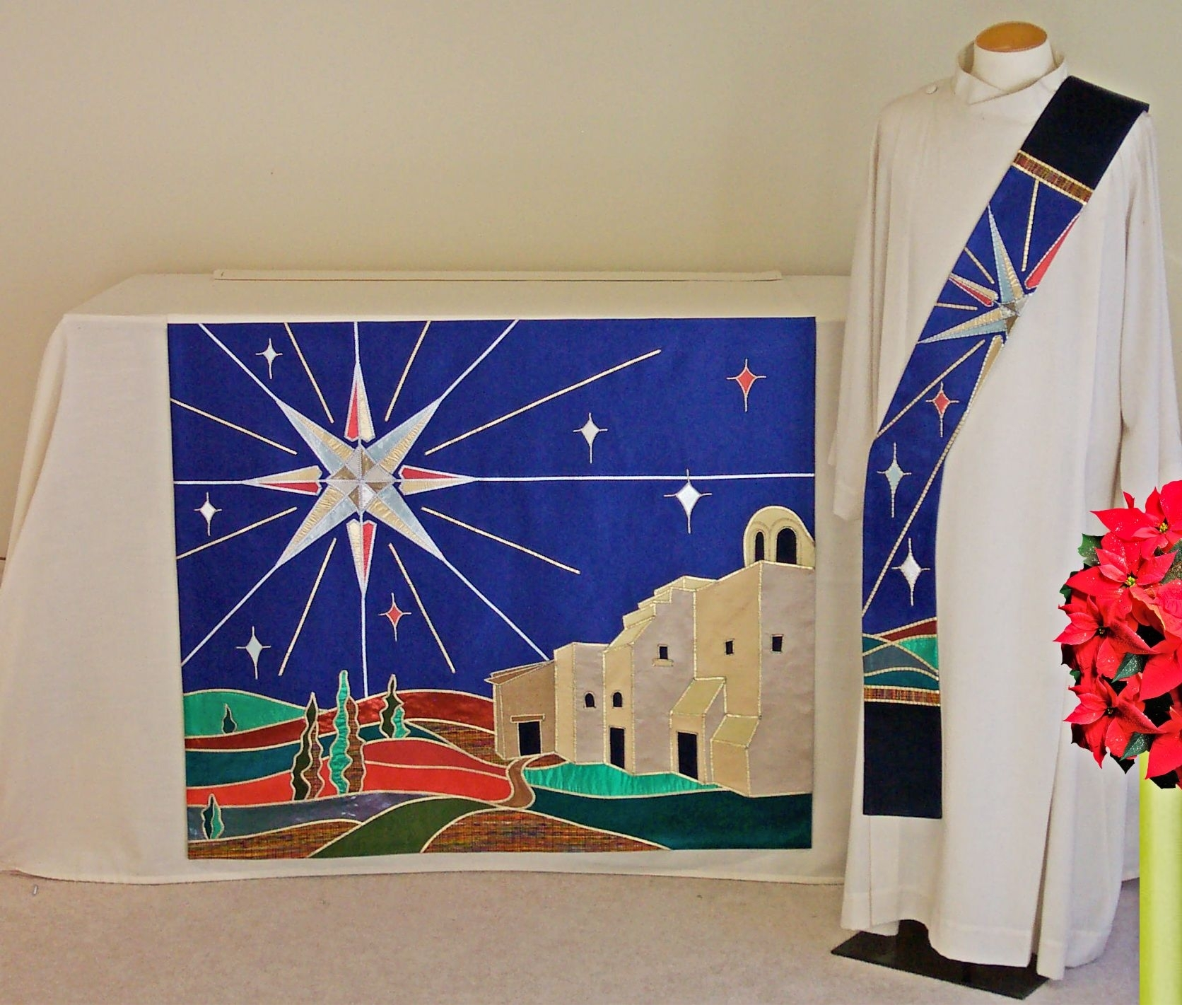 Star Of Bethlehem Super Altar Frontal With Matching Deacon