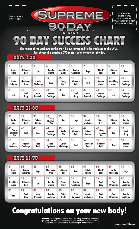 Supreme 90 Day Calendar   Supreme 90 Day Workout, 90 Day