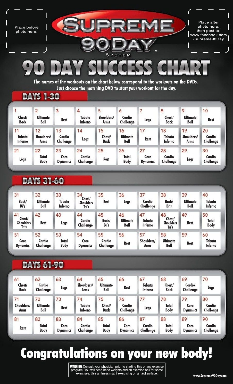 Supreme 90 Day Workout Schedule With Time | Supreme 90 Day