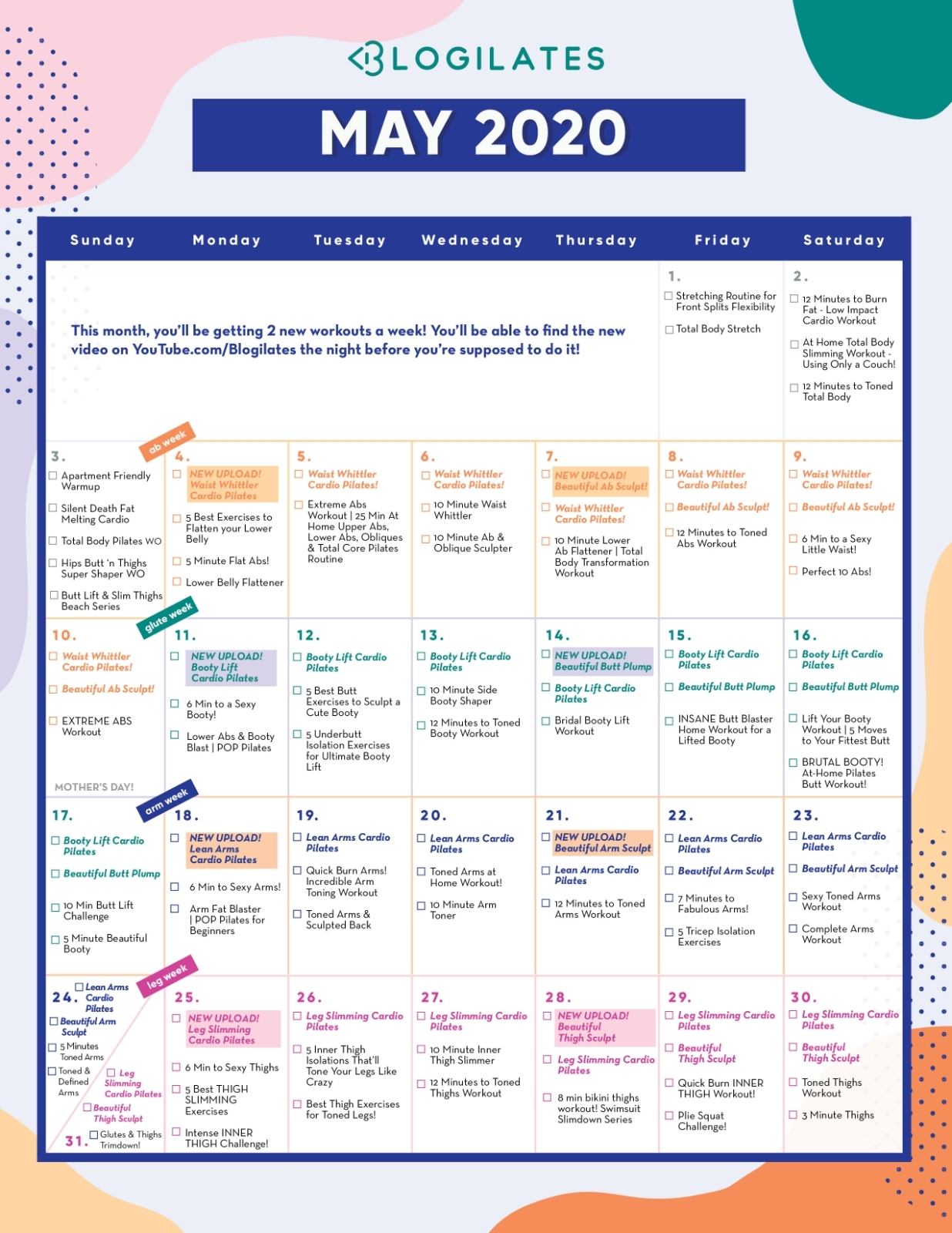 The 7 Day Ab Challenge (+ May Workout Calendar) – Blogilates