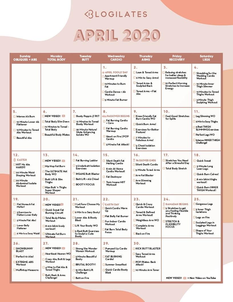 The Blogilates April 2020 Workout Calendar! – Blogilates