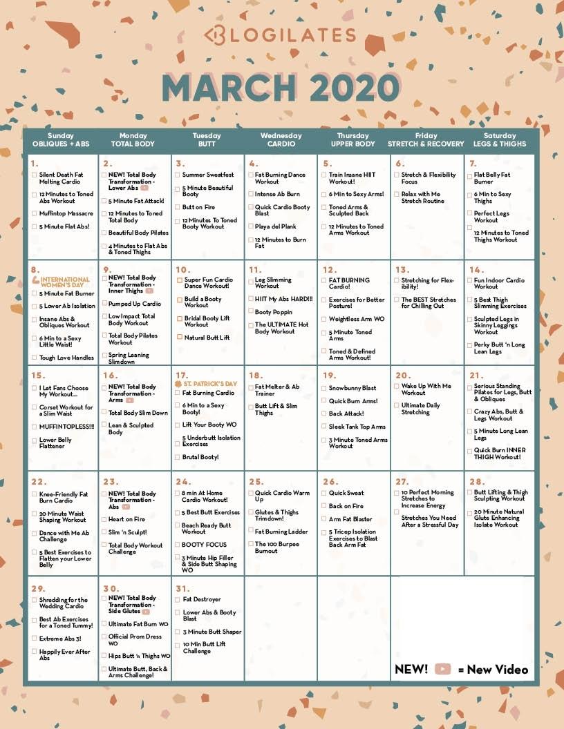 The Blogilates March 2020 Workout Calendar! – Blogilates