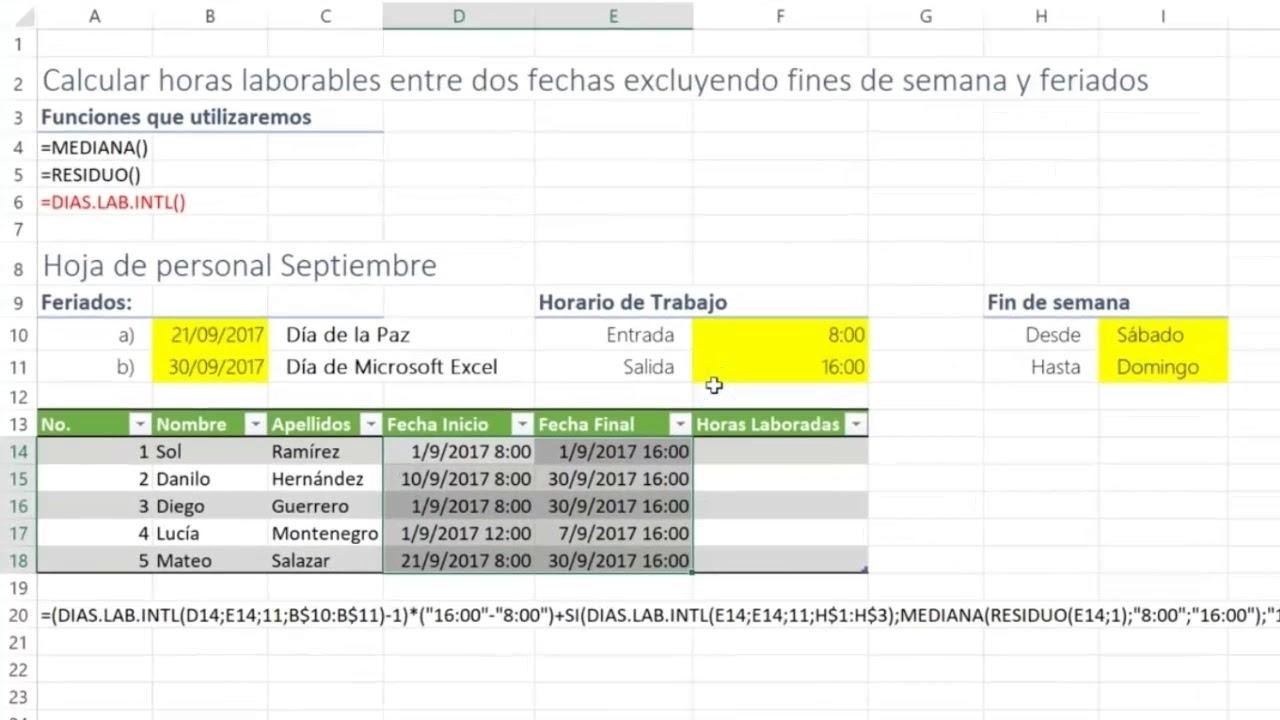 Trucos Excel | Cacular Horas Excluyendo Fines De Semana Y Feriados