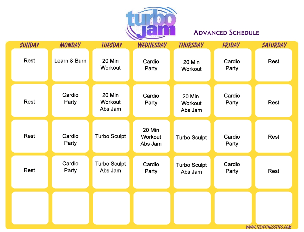 Turbo Jam Advanced Schedule- Bought This Package In 08 And