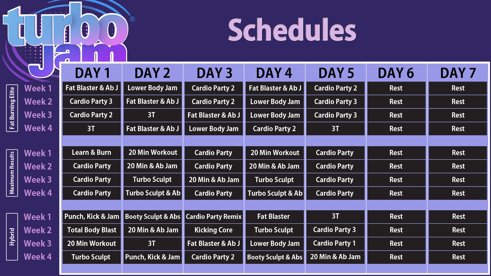 Turbo Jam Workout Schedule (With Images)   Turbo Jam