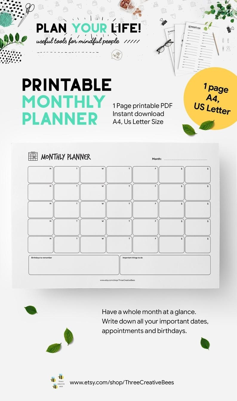 Undated Landscape Monthly Planner Printable, A4 And Us Letter Size