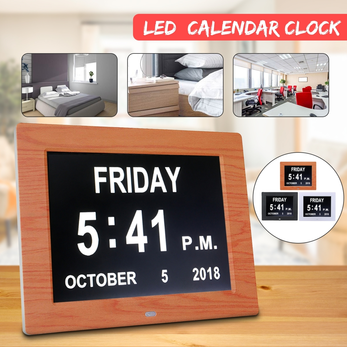 Us $43.94 43% Off|7Inche Led Dementia Digital Calendar Day/week/month/year  Clock Stand Photo Frame Large Wall Clock Calendar Alarm Day/night Mode|Wall