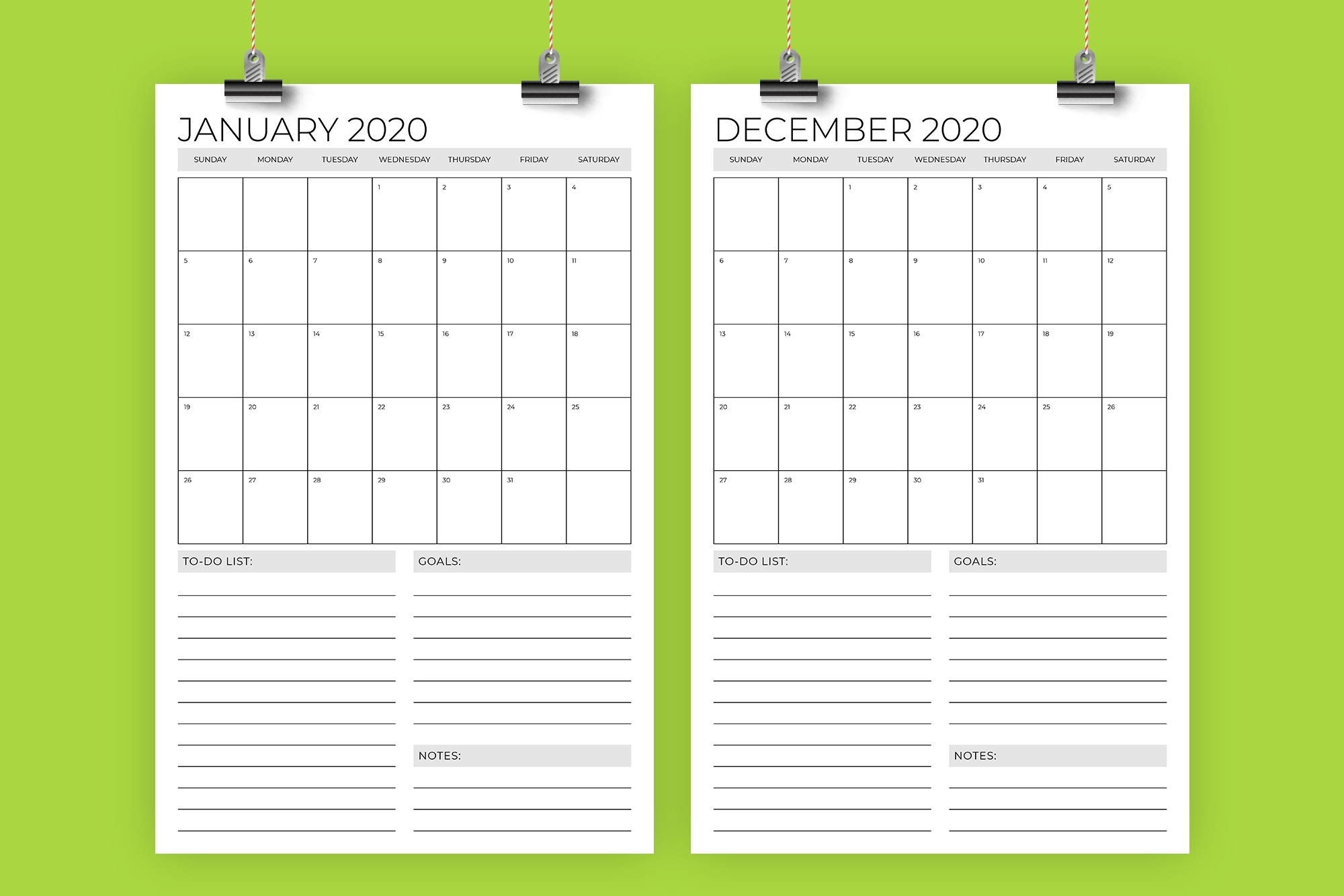 Vertical 11X17 Inch 2020 Calendar