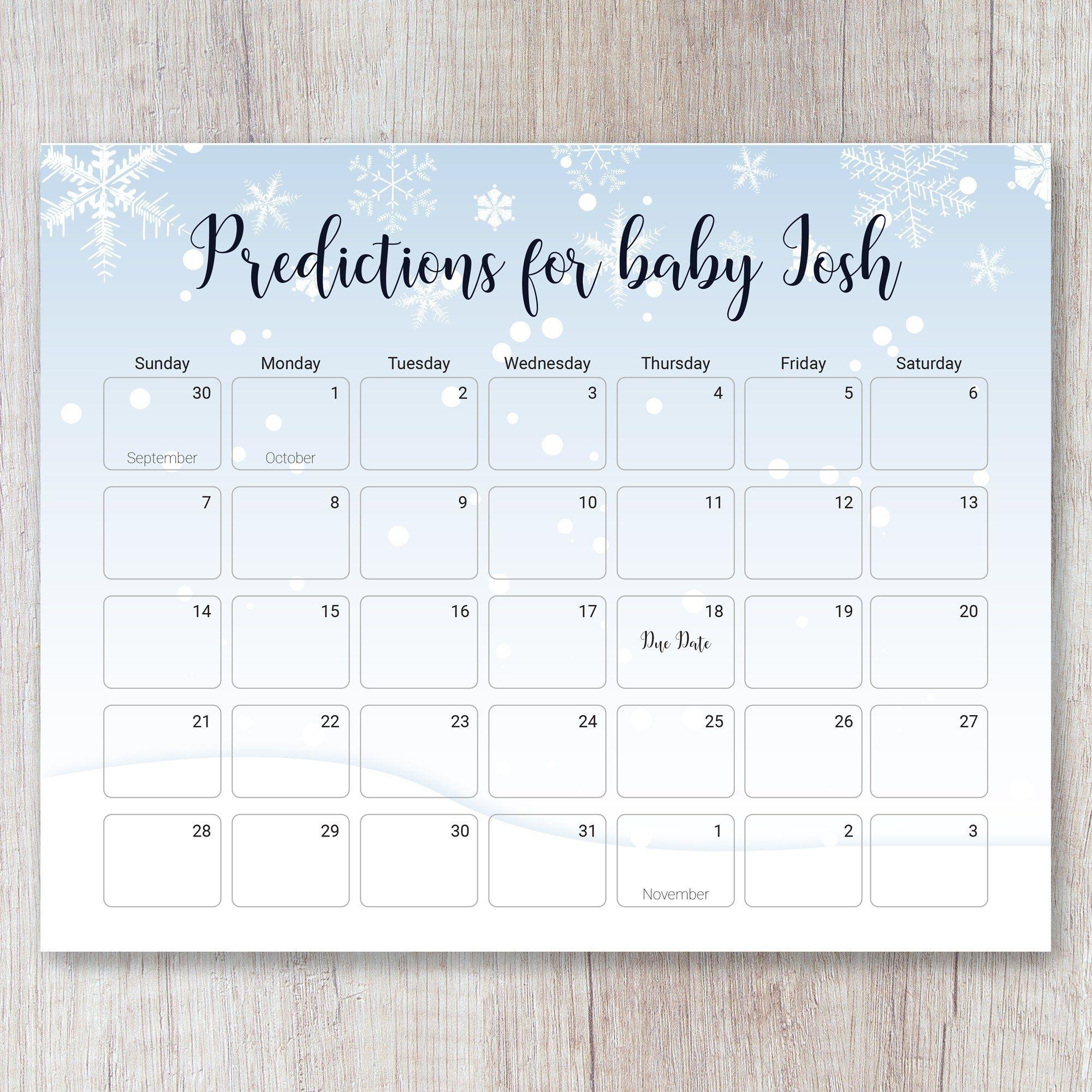 Winter Wonderland Due Date Prediction Calendar D101