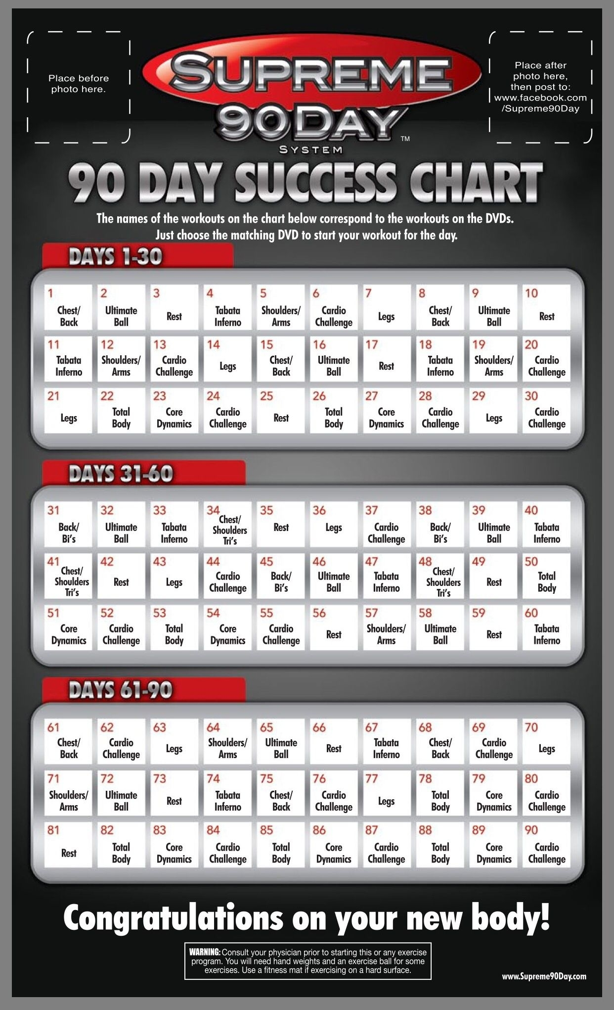 """Workout Schedule. **supreme 90Day System, """"get Ripped In"""