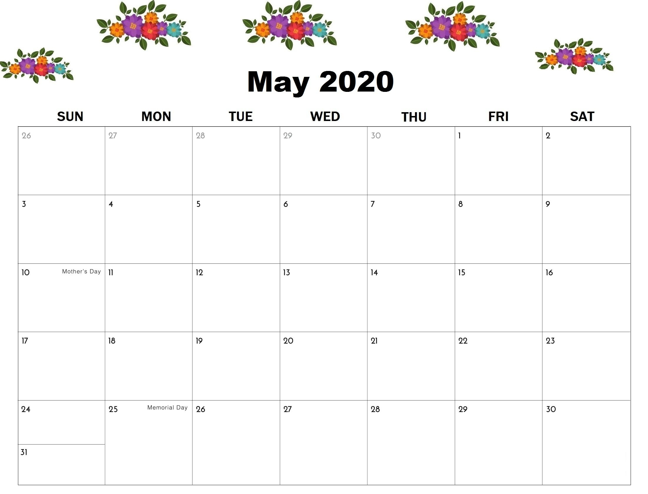 You Can Add Your Upcoming Holidays In May 2020 Calendar