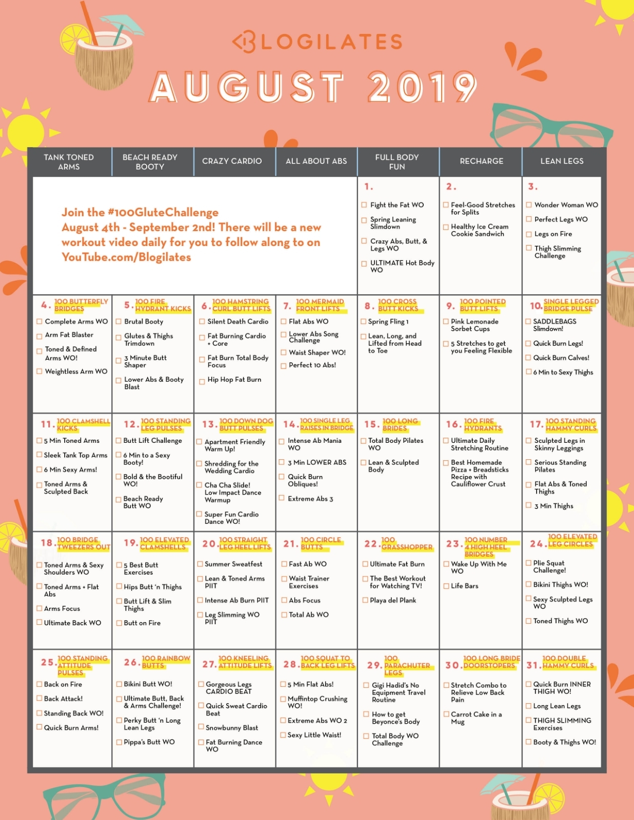 Your August Workout Calendar! – Blogilates