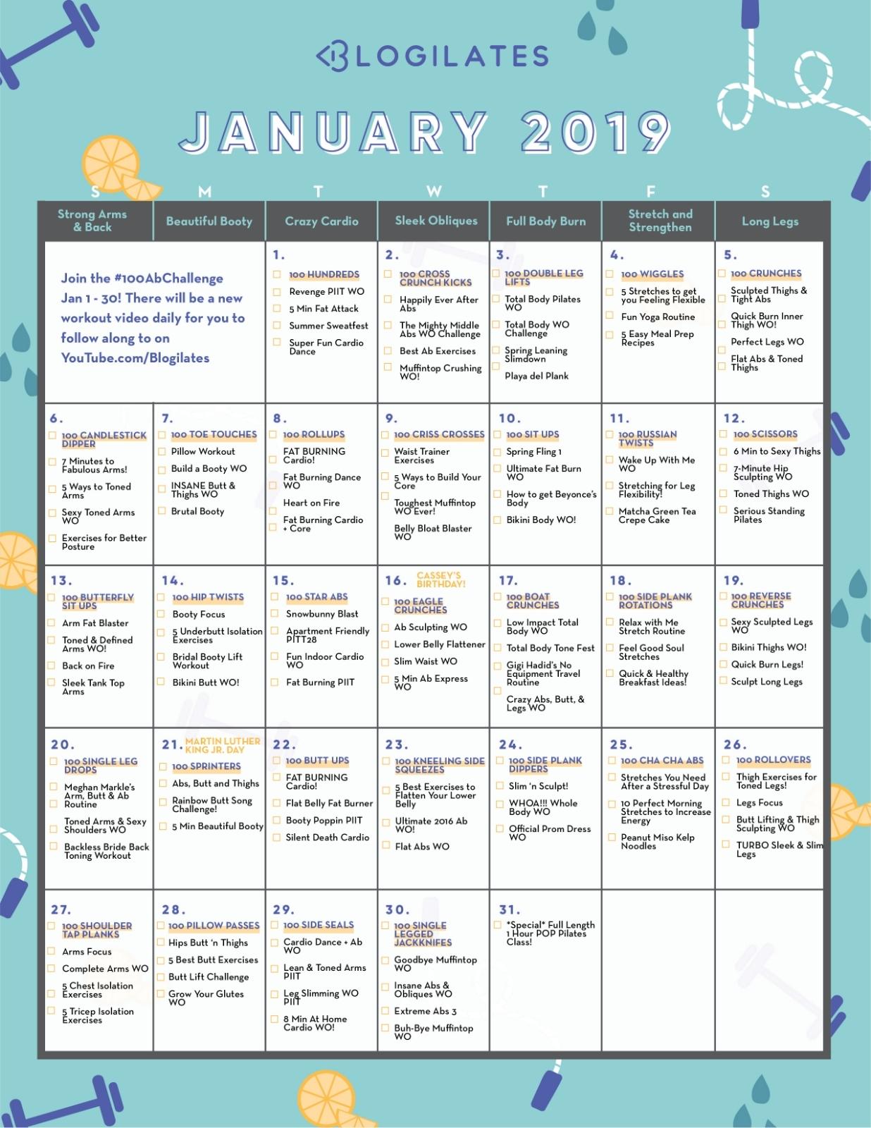 Your January Workout Calendar! – Blogilates