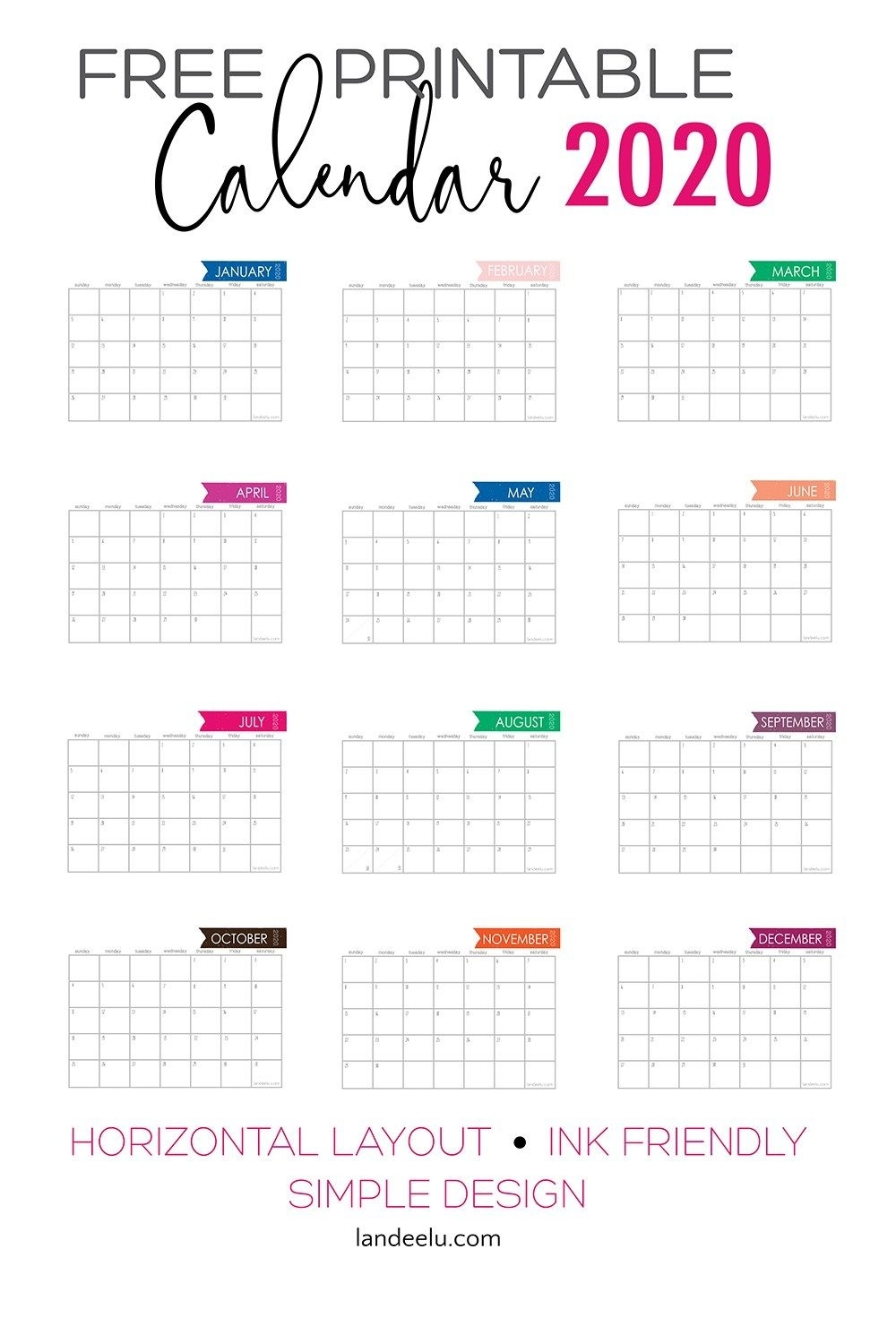 2020 Free Printable Calendar To Keep You Organized | Free