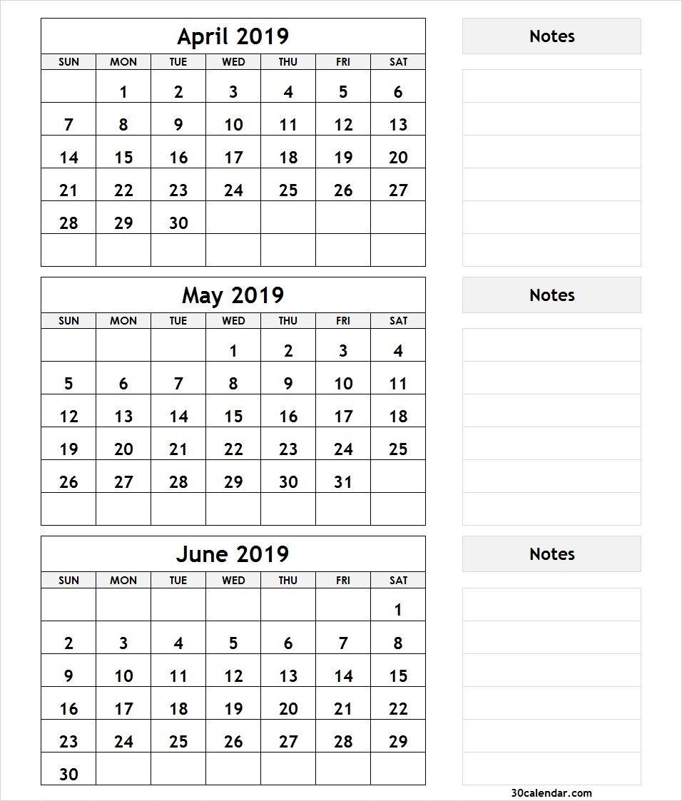 3 Month April May June 2019 Calendar | 3 Month Calendar