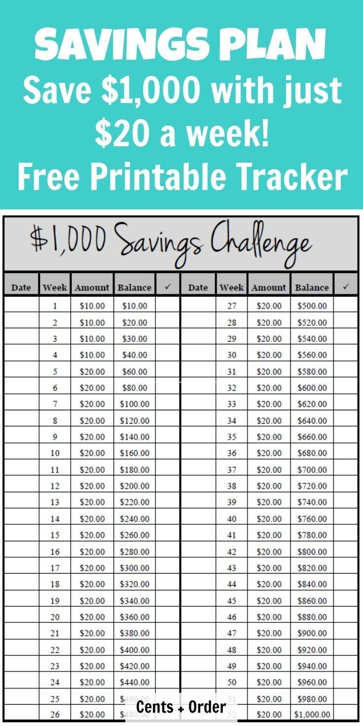 52 Week Challenge Plan (Save $1,000) - Free Printable