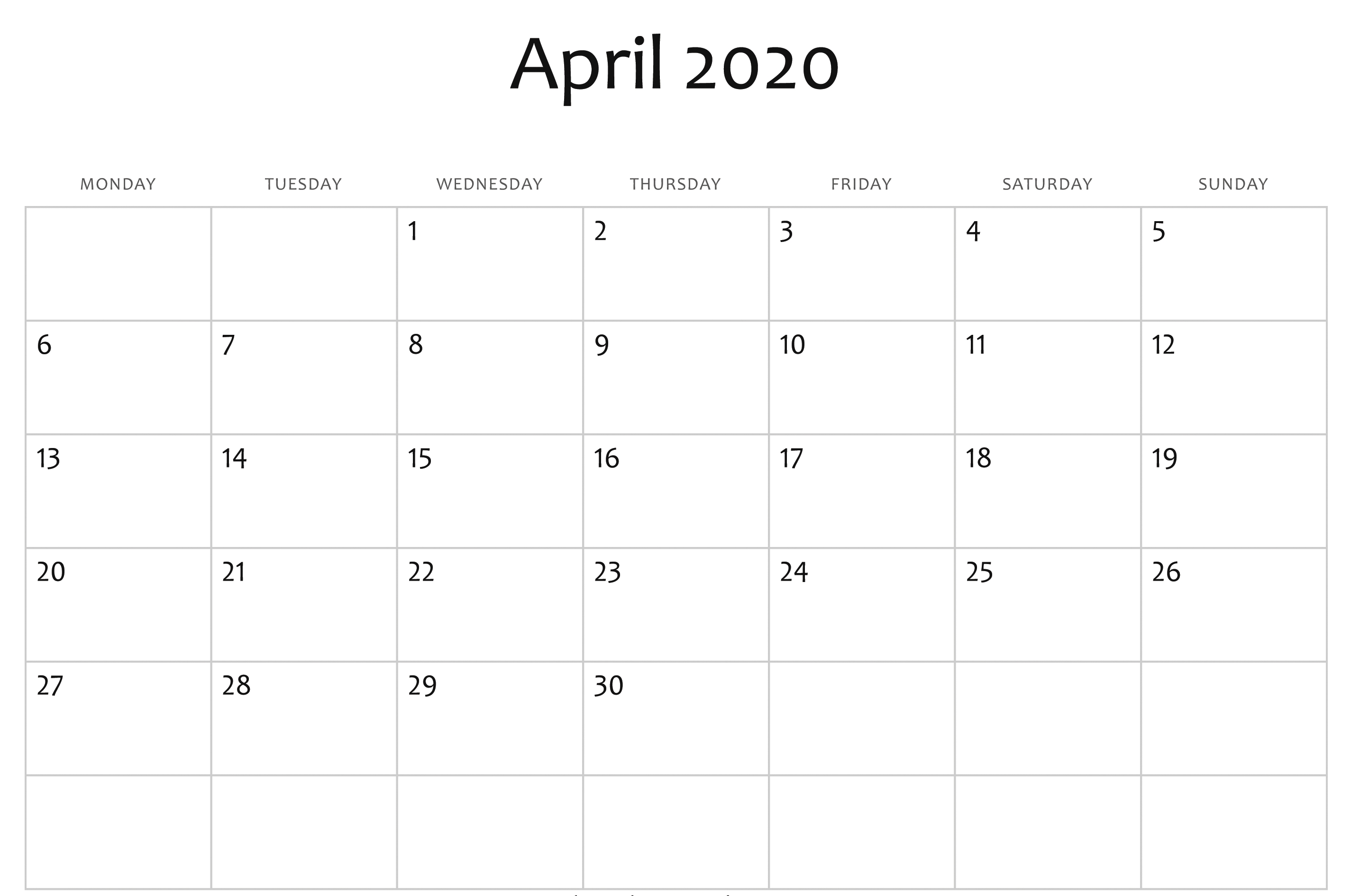 April Calendar 2020 Free Printable Template Pdf Word Excel 1