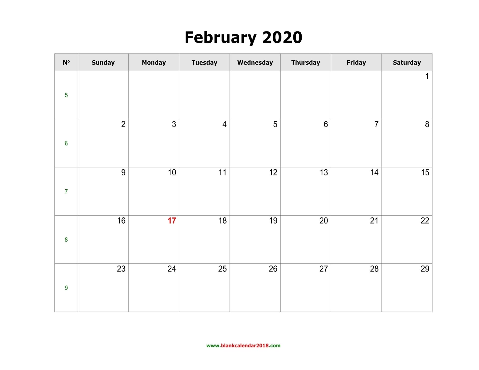 Blank Calendar For February 2020