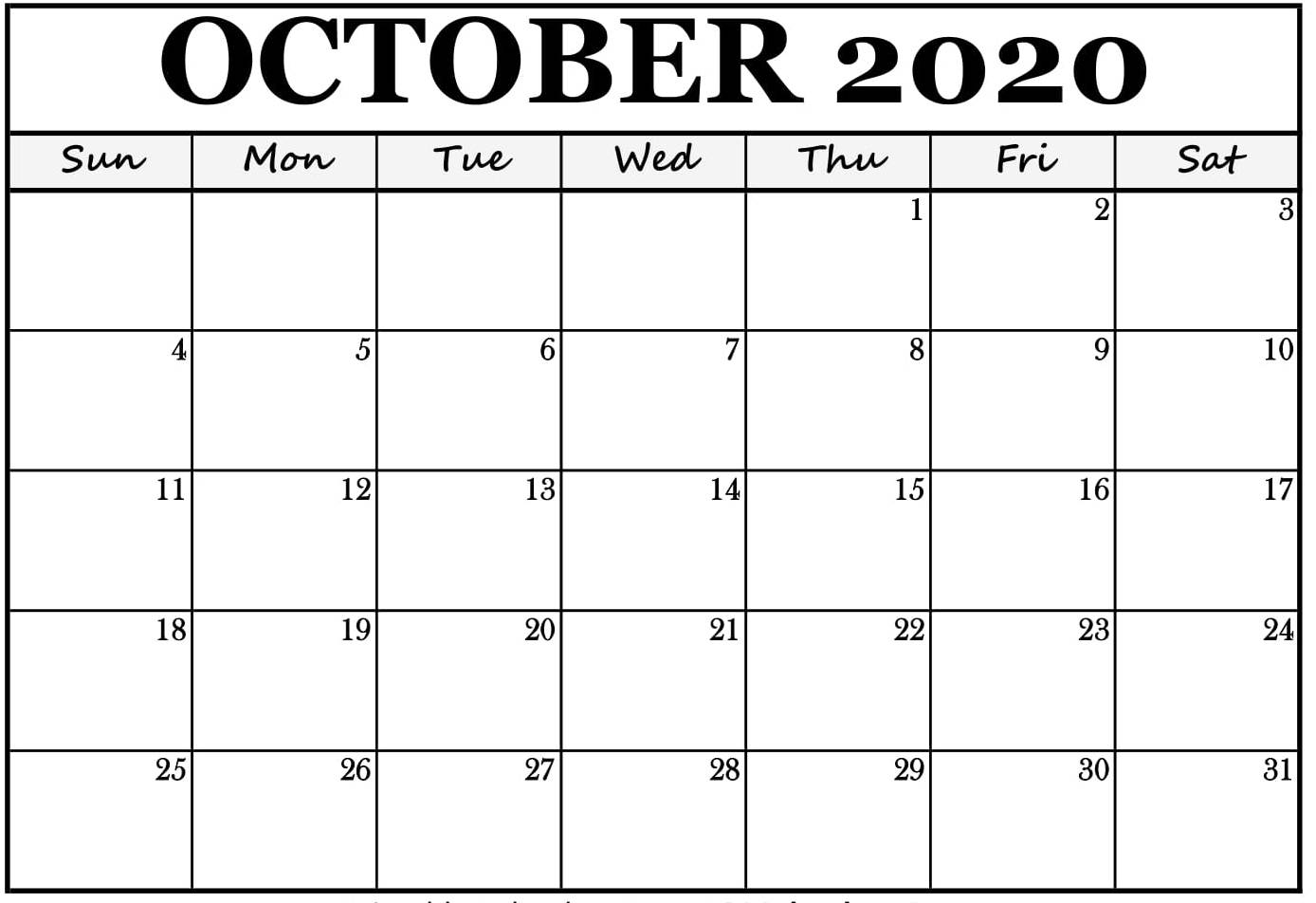 Blank October 2020 Calendar Printable With Notes Pdf - Set